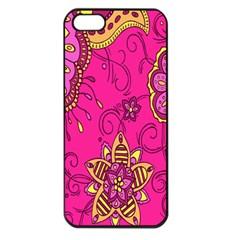 Pink Lemonade Flower Floral Rose Sunflower Leaf Star Pink Apple Iphone 5 Seamless Case (black) by Alisyart