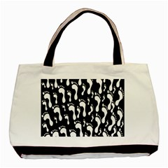 Population Soles Feet Foot Black White Basic Tote Bag (two Sides) by Alisyart