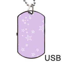 Star Lavender Purple Space Dog Tag Usb Flash (two Sides) by Alisyart