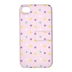 Star Rainbow Coror Purple Gold White Blue Apple Iphone 4/4s Hardshell Case With Stand by Alisyart