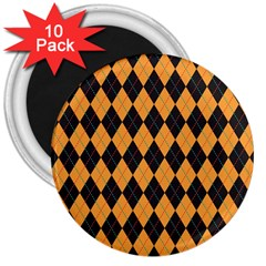 Plaid Triangle Line Wave Chevron Yellow Red Blue Orange Black Beauty Argyle 3  Magnets (10 Pack)  by Alisyart