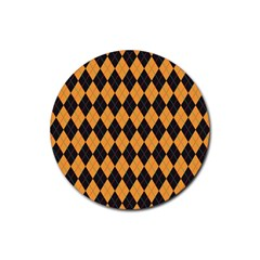 Plaid Triangle Line Wave Chevron Yellow Red Blue Orange Black Beauty Argyle Rubber Round Coaster (4 Pack)  by Alisyart