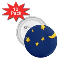 Starry Star Night Moon Blue Sky Light Yellow 1 75  Buttons (10 Pack) by Alisyart