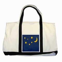 Starry Star Night Moon Blue Sky Light Yellow Two Tone Tote Bag by Alisyart