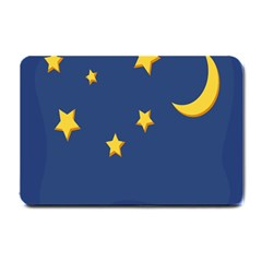 Starry Star Night Moon Blue Sky Light Yellow Small Doormat  by Alisyart