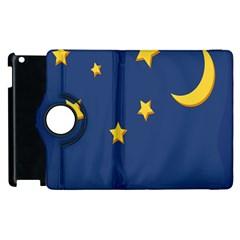 Starry Star Night Moon Blue Sky Light Yellow Apple Ipad 2 Flip 360 Case by Alisyart