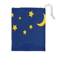 Starry Star Night Moon Blue Sky Light Yellow Drawstring Pouches (extra Large) by Alisyart