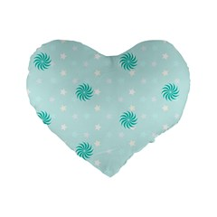Star White Fan Blue Standard 16  Premium Heart Shape Cushions by Alisyart