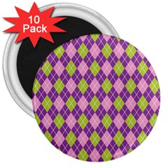 Plaid Triangle Line Wave Chevron Green Purple Grey Beauty Argyle 3  Magnets (10 Pack)  by Alisyart
