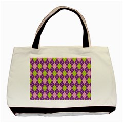 Plaid Triangle Line Wave Chevron Green Purple Grey Beauty Argyle Basic Tote Bag by Alisyart