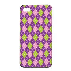 Plaid Triangle Line Wave Chevron Green Purple Grey Beauty Argyle Apple Iphone 4/4s Seamless Case (black) by Alisyart