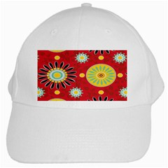 Sunflower Floral Red Yellow Black Circle White Cap by Alisyart