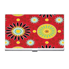Sunflower Floral Red Yellow Black Circle Business Card Holders by Alisyart