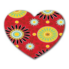 Sunflower Floral Red Yellow Black Circle Heart Mousepads by Alisyart