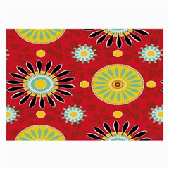 Sunflower Floral Red Yellow Black Circle Large Glasses Cloth (2 Side) by Alisyart