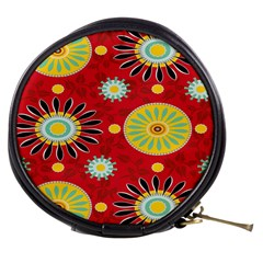 Sunflower Floral Red Yellow Black Circle Mini Makeup Bags by Alisyart