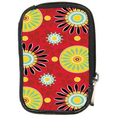 Sunflower Floral Red Yellow Black Circle Compact Camera Cases by Alisyart