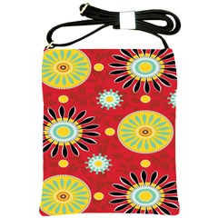Sunflower Floral Red Yellow Black Circle Shoulder Sling Bags by Alisyart