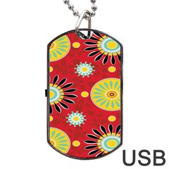 Sunflower Floral Red Yellow Black Circle Dog Tag Usb Flash (one Side) by Alisyart