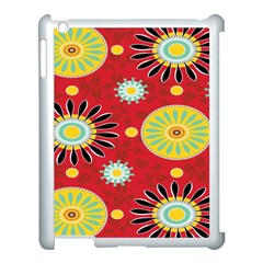 Sunflower Floral Red Yellow Black Circle Apple Ipad 3/4 Case (white) by Alisyart