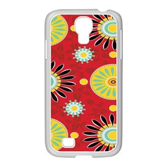 Sunflower Floral Red Yellow Black Circle Samsung Galaxy S4 I9500/ I9505 Case (white) by Alisyart