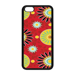 Sunflower Floral Red Yellow Black Circle Apple Iphone 5c Seamless Case (black) by Alisyart