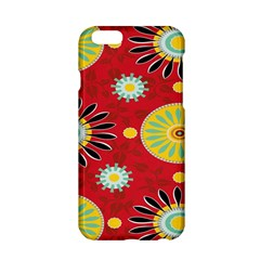 Sunflower Floral Red Yellow Black Circle Apple Iphone 6/6s Hardshell Case by Alisyart