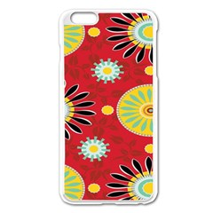 Sunflower Floral Red Yellow Black Circle Apple Iphone 6 Plus/6s Plus Enamel White Case by Alisyart