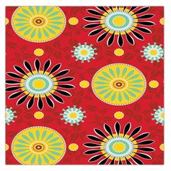 Sunflower Floral Red Yellow Black Circle Large Satin Scarf (square) by Alisyart