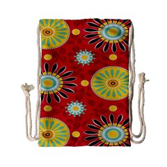 Sunflower Floral Red Yellow Black Circle Drawstring Bag (small) by Alisyart