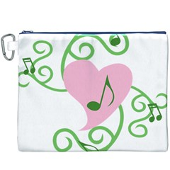Sweetie Belle s Love Heart Music Note Leaf Green Pink Canvas Cosmetic Bag (xxxl) by Alisyart