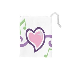 Sweetie Belle s Love Heart Star Music Note Green Pink Purple Drawstring Pouches (small)  by Alisyart