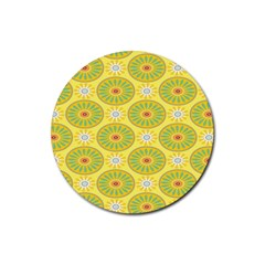 Sunflower Floral Yellow Blue Circle Rubber Coaster (round)  by Alisyart