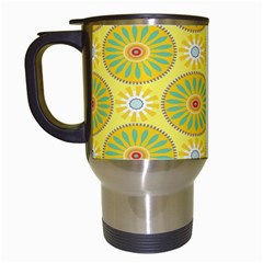 Sunflower Floral Yellow Blue Circle Travel Mugs (white) by Alisyart