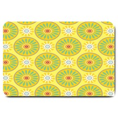 Sunflower Floral Yellow Blue Circle Large Doormat  by Alisyart