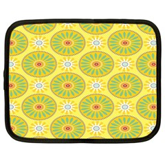 Sunflower Floral Yellow Blue Circle Netbook Case (large) by Alisyart