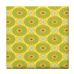 Sunflower Floral Yellow Blue Circle Face Towel by Alisyart