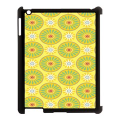Sunflower Floral Yellow Blue Circle Apple Ipad 3/4 Case (black) by Alisyart