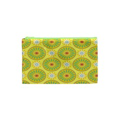 Sunflower Floral Yellow Blue Circle Cosmetic Bag (xs) by Alisyart
