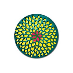 Sunflower Flower Floral Pink Yellow Green Magnet 3  (round) by Alisyart