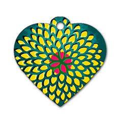Sunflower Flower Floral Pink Yellow Green Dog Tag Heart (two Sides) by Alisyart