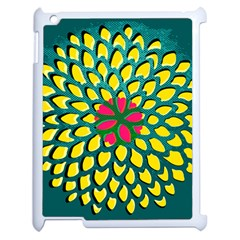 Sunflower Flower Floral Pink Yellow Green Apple Ipad 2 Case (white) by Alisyart