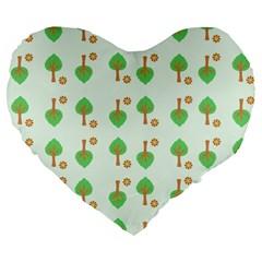 Tree Circle Green Yellow Grey Large 19  Premium Flano Heart Shape Cushions by Alisyart