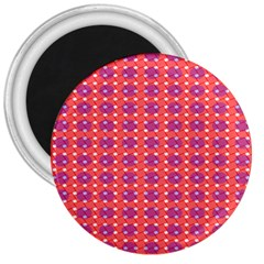 Roll Circle Plaid Triangle Red Pink White Wave Chevron 3  Magnets by Alisyart