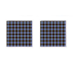 Tartan Fabrik Plaid Color Rainbow Triangle Cufflinks (square) by Alisyart