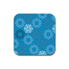 Flower Star Blue Sky Plaid White Froz Snow Rubber Square Coaster (4 Pack)  by Alisyart
