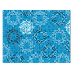 Flower Star Blue Sky Plaid White Froz Snow Rectangular Jigsaw Puzzl by Alisyart