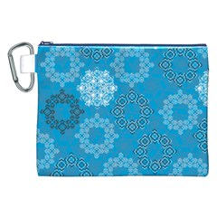 Flower Star Blue Sky Plaid White Froz Snow Canvas Cosmetic Bag (xxl) by Alisyart