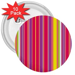 Stripes Colorful Background 3  Buttons (10 Pack)  by Simbadda