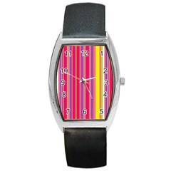 Stripes Colorful Background Barrel Style Metal Watch by Simbadda